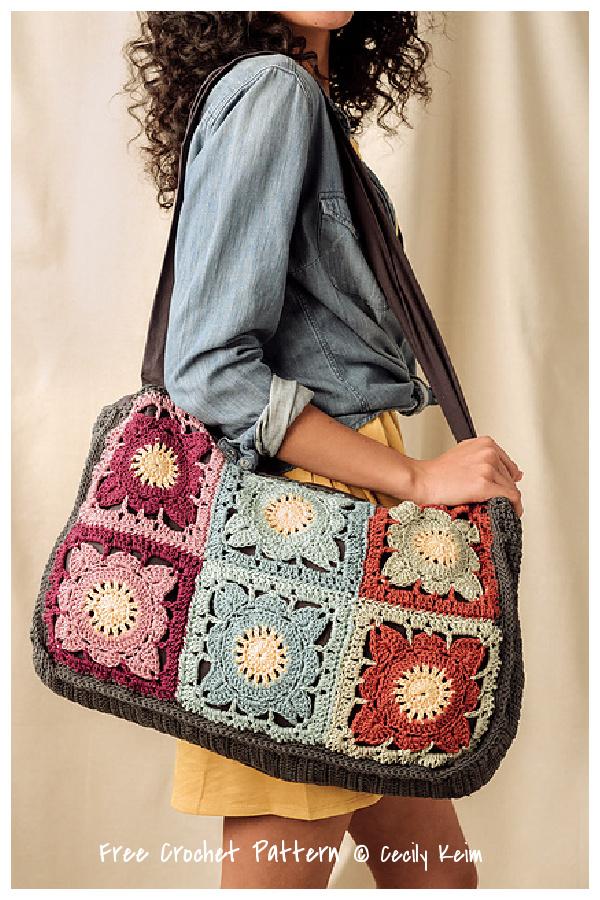 Larger Than Life Granny Squares Bag Free Crochet Patterns