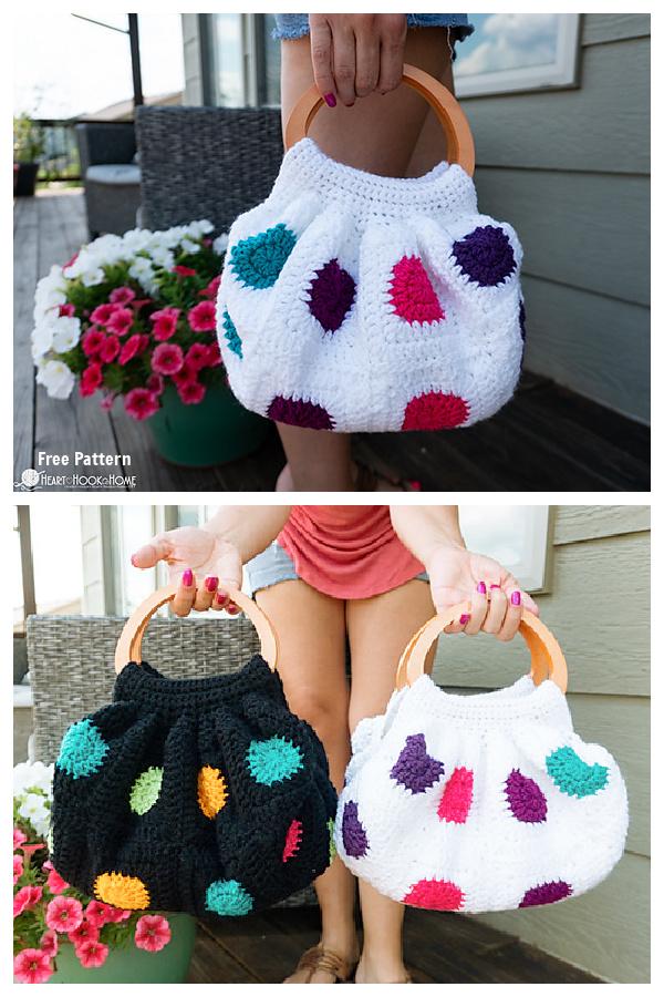 Granny Squares Fat Bottom Bag Free Crochet Patterns