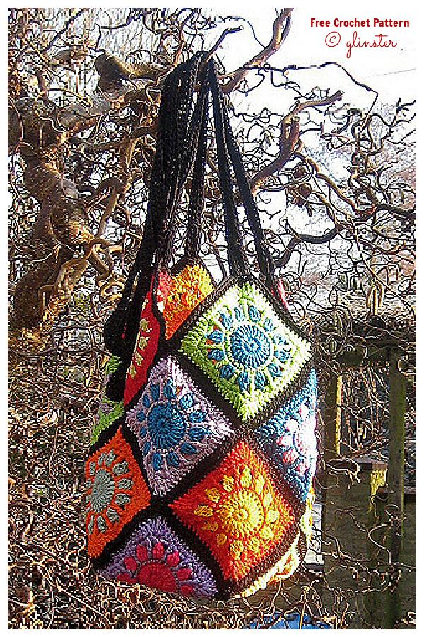 Sunny squares Bag Free Crochet Patterns