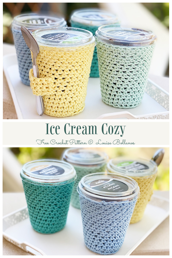 Simple Ice Cream Cozy Free Crochet Patterns with Spoon Holder
