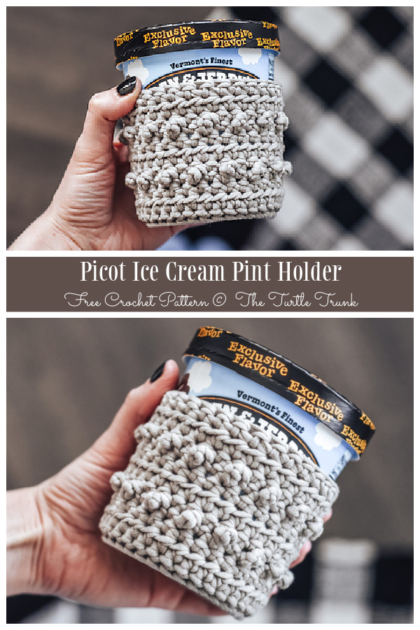 Picot Ice Cream Pint Holder Free Crochet Patterns