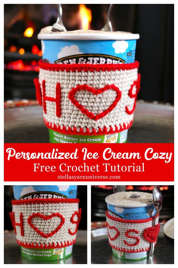 Personalized Ice Cream Cozy Free Crochet Patterns