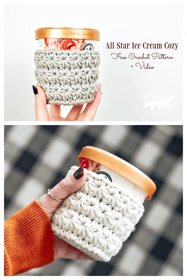 All Star Ice Cream Cozy Free Crochet Patterns + Video