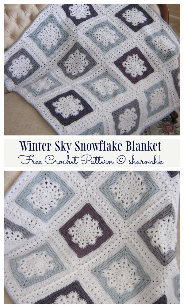 Winter Sky Snowflake Blanket Free Crochet Patterns