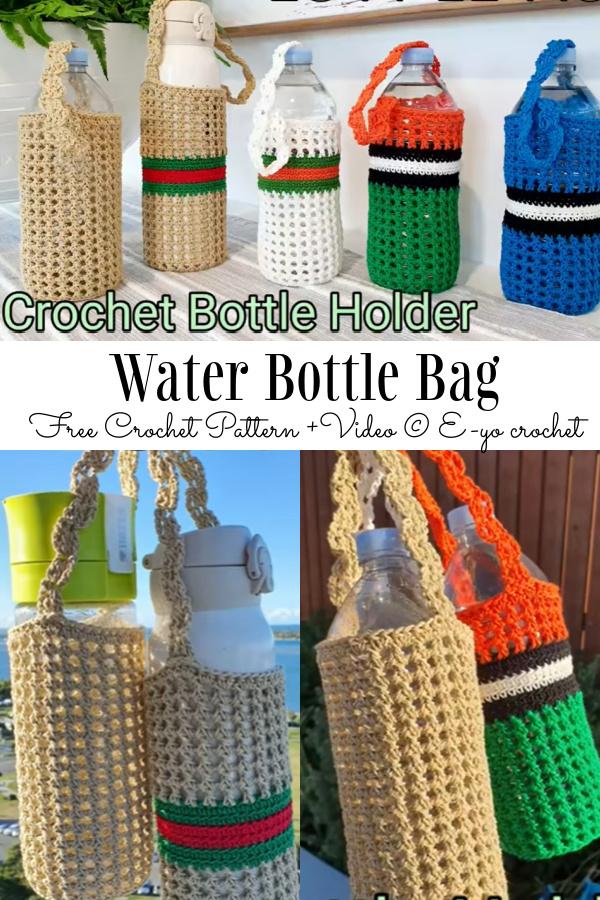 Water Bottle Bag Free Crochet Patterns + Video