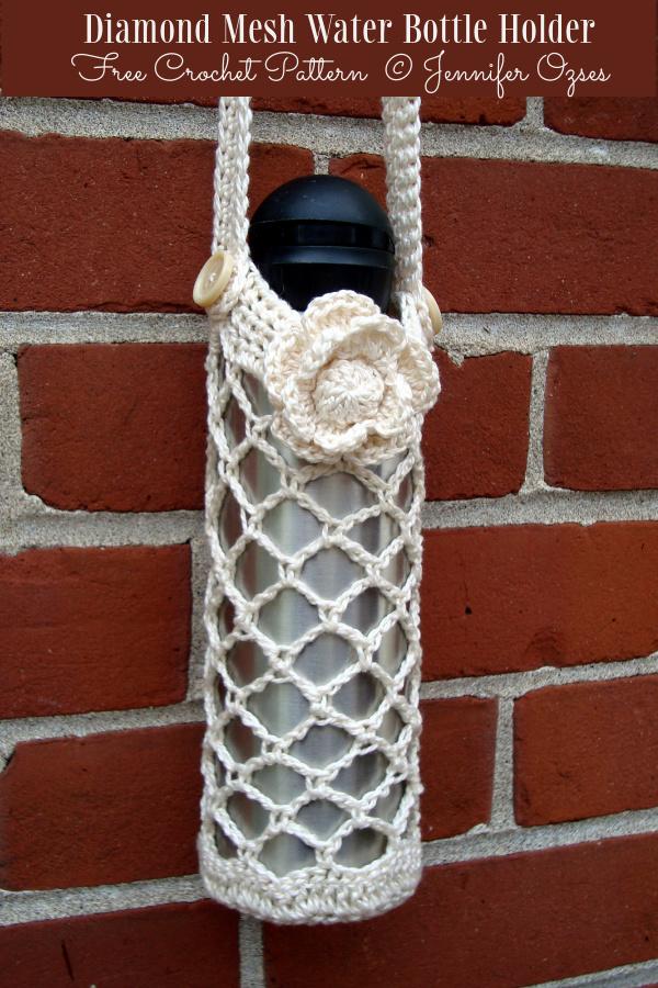 Diamond Mesh Water Bottle Holder Free Crochet Patterns