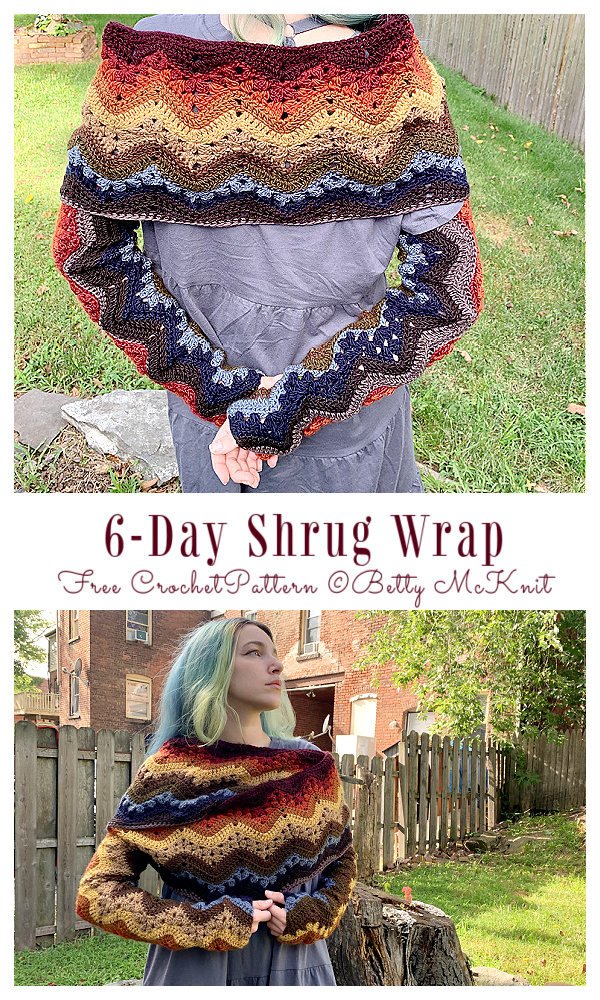 6-Day Shrug Wrap & Hooded Scarf Free Crochet Patterns