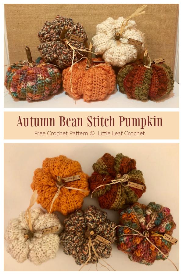 Autumn Bean Stitch Pumpkin Free Crochet Patterns