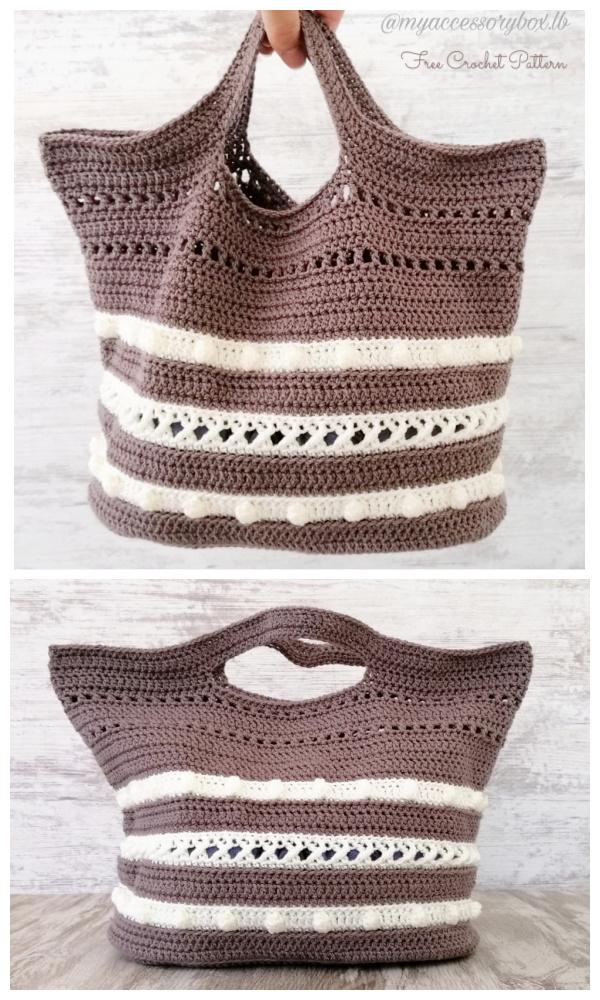 Bobbles Circle Tote Bag Free Crochet Patterns