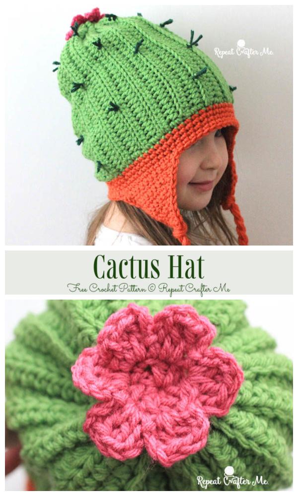 Earflap Cactus Beanie Hat Free Crochet Patterns