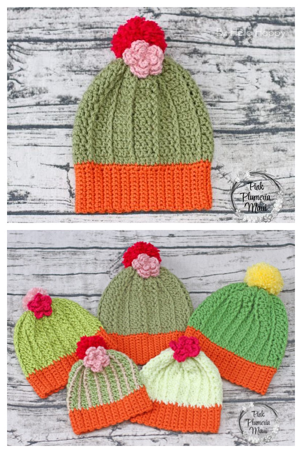 Cactus Beanie Pattern in 5 Sizes Free Crochet Patterns