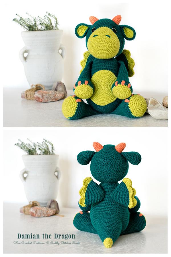 Crochet Damian the Dragon Amigurumi Free Patterns