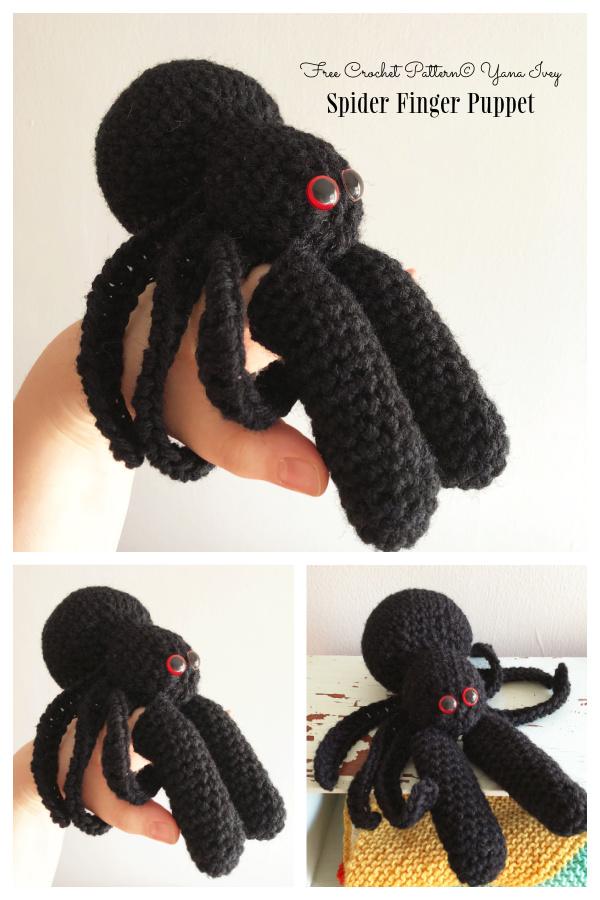 Crochet Spider Finger Puppet Amigurumi Free Patterns