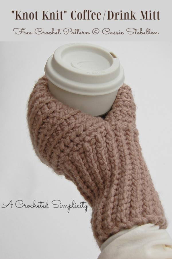 Knot Knit Coffee & Drink Mitt Free Crochet Patterns