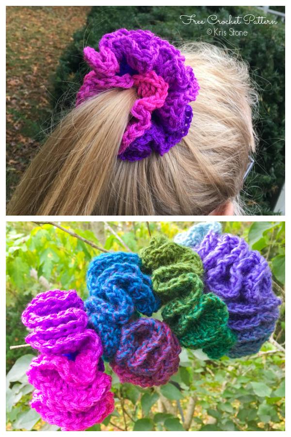 Hair Ruffle Scrunchie Free Crochet Patterns