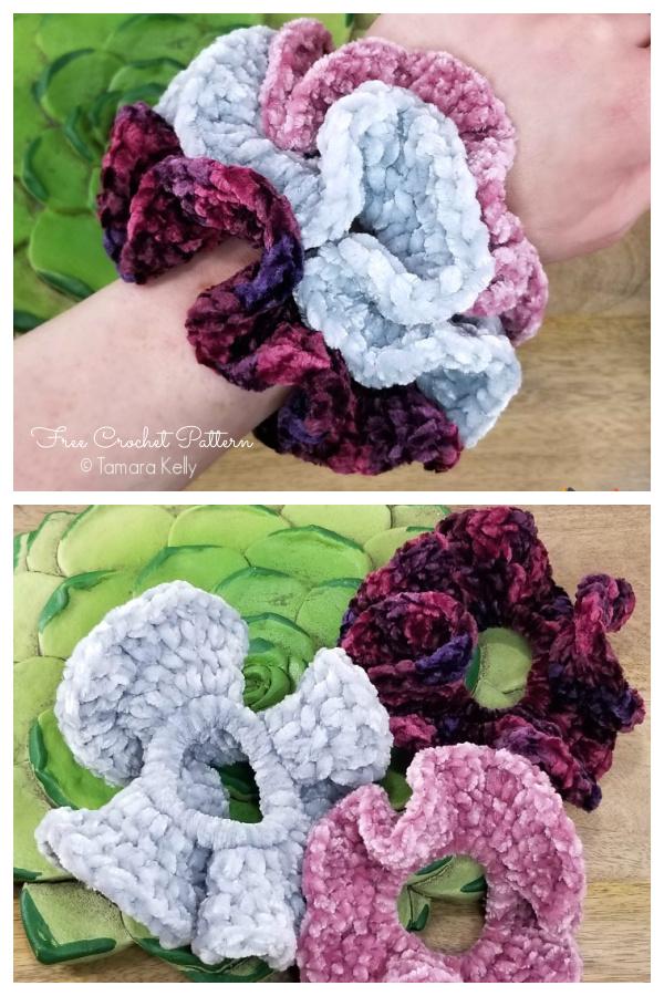 Hyperbolic Velvet Scrunchies Free Crochet Patterns