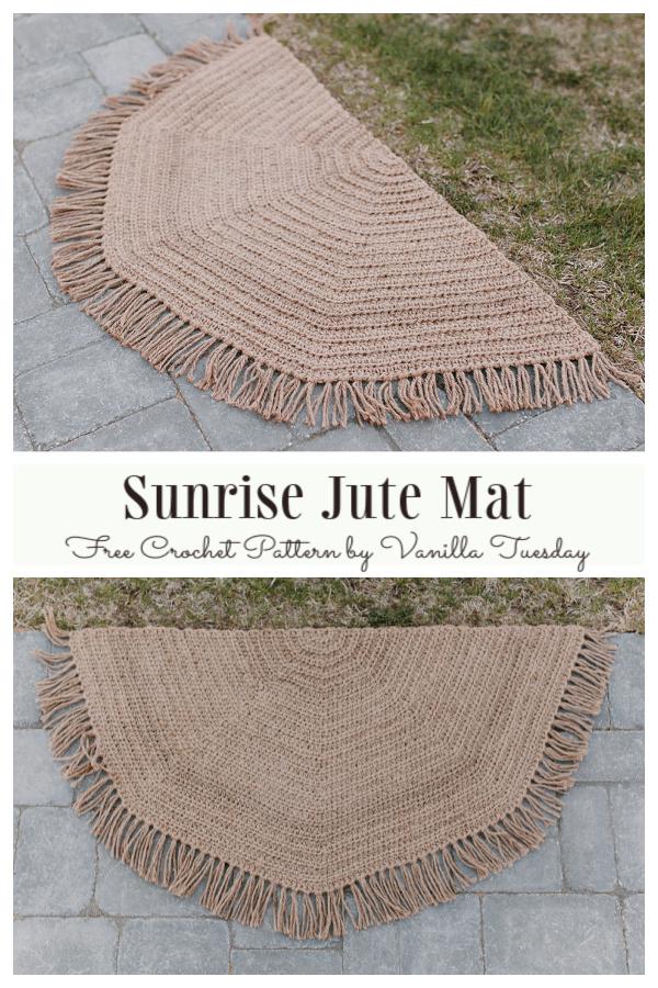 Half Circle Sunrise Jute Mat Free Crochet Patterns