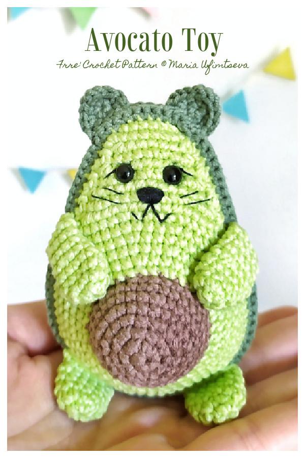 Crochet Avocado Cat Avocato Amigurumi Free Patterns
