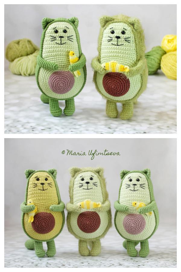 Crochet Avocado Cat Amigurumi Patterns