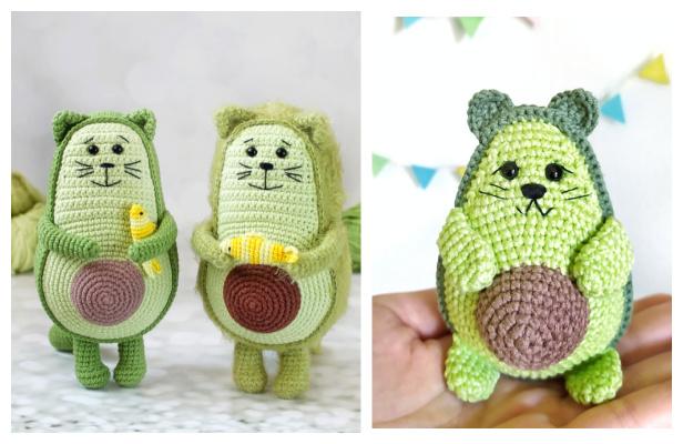Crochet Avocado Cat Amigurumi Free Patterns & Paid