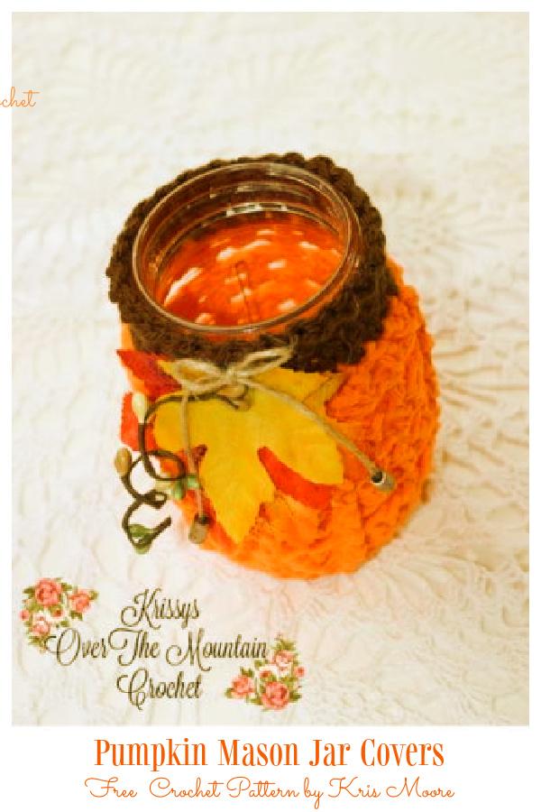 Pumpkin Mason Jar Covers Free Crochet Patterns