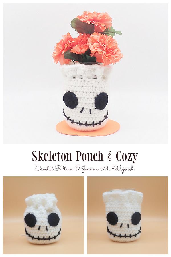 Skeleton Pouch & Jar Cozy Free Crochet Patterns by 10/31/2021