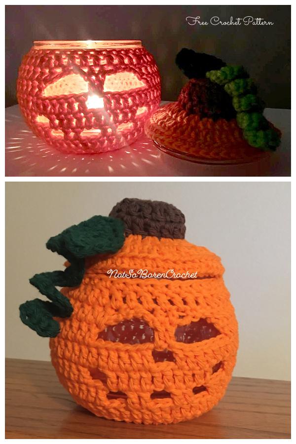 4in1 Fancy, Pumpkin Face Jar Cozy Free Crochet Patterns