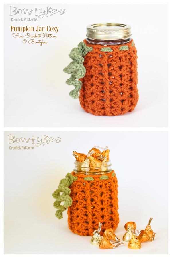 Pumpkin Mason Jar Cozy Free Crochet Patterns