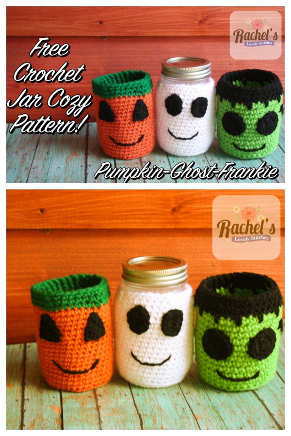 Fall Halloween Jar Cozy Free Crochet Patterns