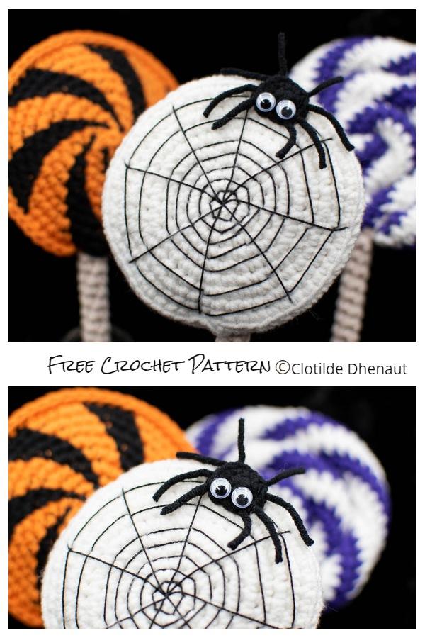 Halloween Spider Web Lollipop Free Crochet Patterns