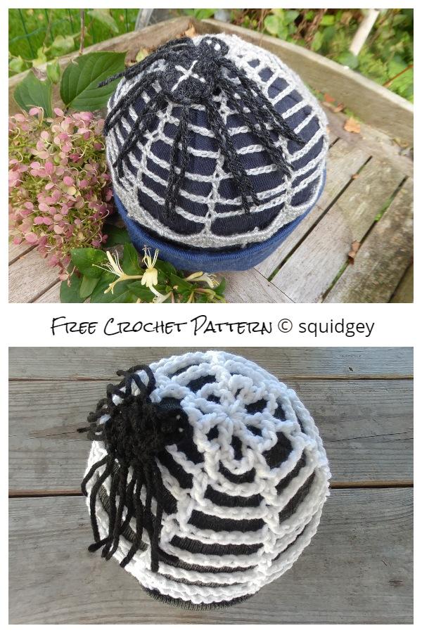 Halloween Spider Web Beanie Free Crochet Patterns