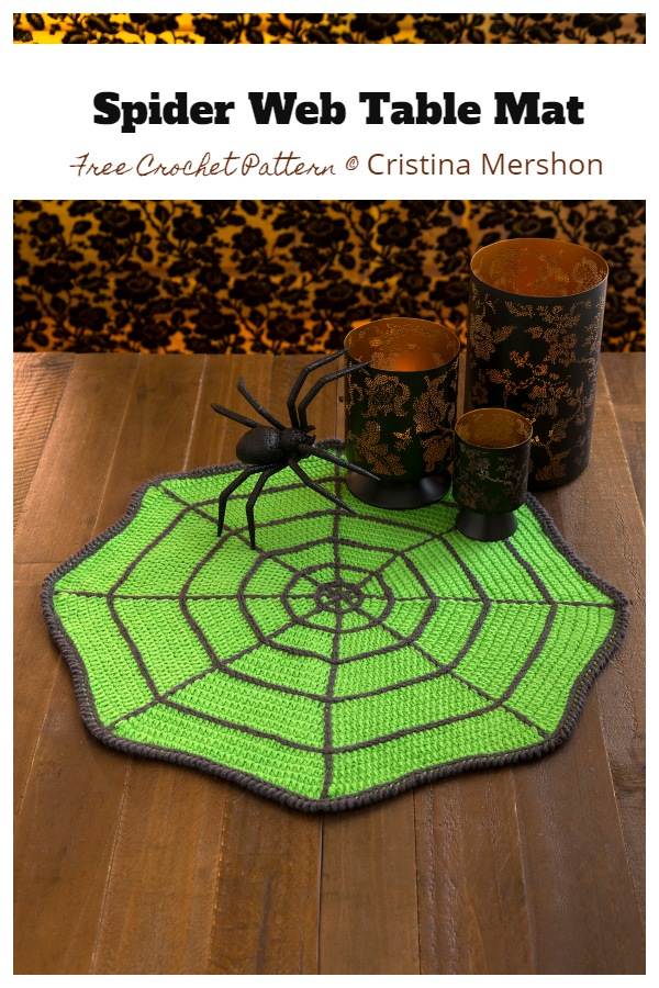 Halloween Spider Web Table Mat Free Crochet Patterns