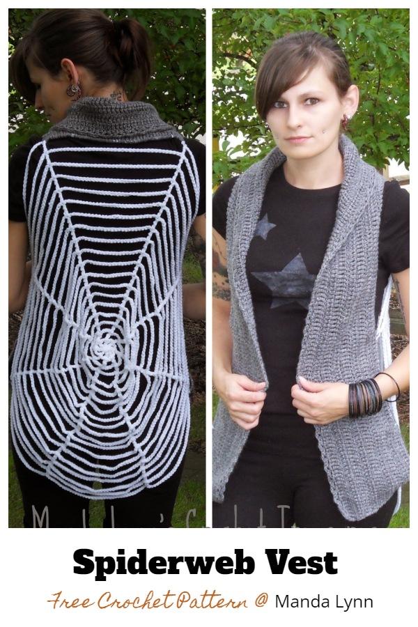 Halloween Spider Web Vest Free Crochet Patterns