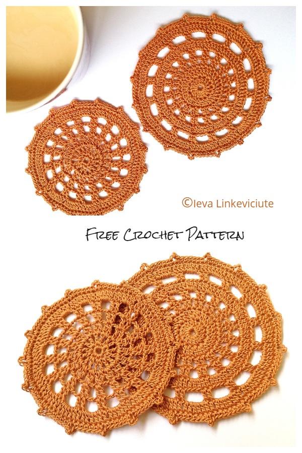 Halloween Two spider Web coaster Free Crochet Patterns