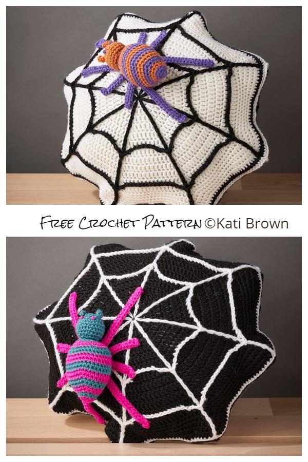 Halloween Spider Web Pillow Free Crochet Patterns