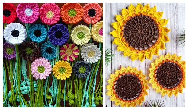 Happy Sunflower Free Crochet Patterns