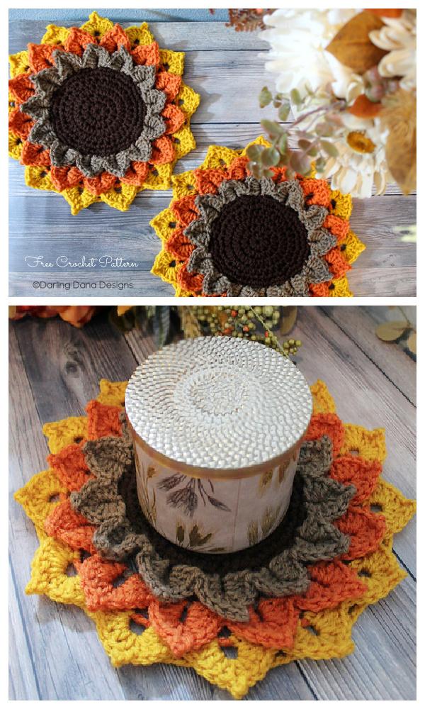 Sunflower Candle Coaster Free Crochet Patterns