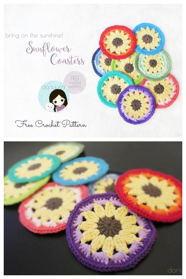 Sunflower Round Coaster Free Crochet Patterns
