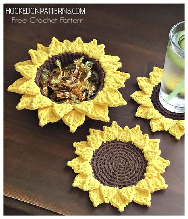 Sunflower Coasters Free Crochet Pattern