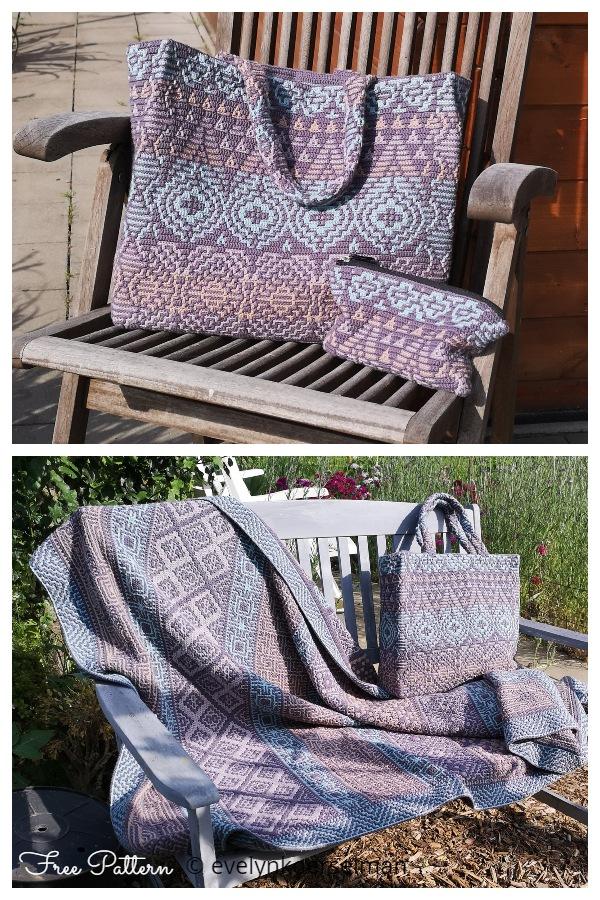 Evelyn's Playing with Pattern Interlocking Crochet Bag Free Crochet Patterns