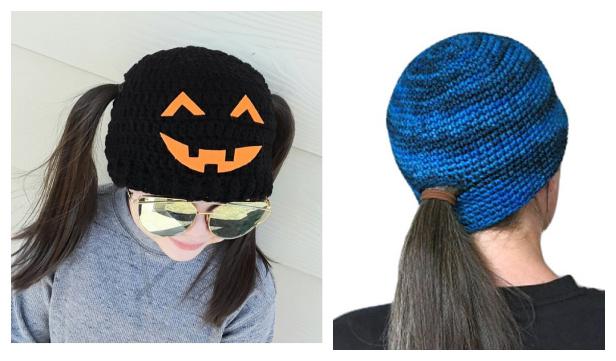Jack o Lantern Pigtail Beanie Hat Free Crochet Patterns
