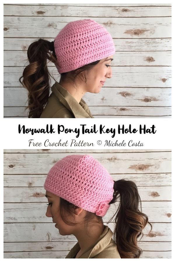 Norwalk PonyTail Key Hole Hat Free Crochet Patterns