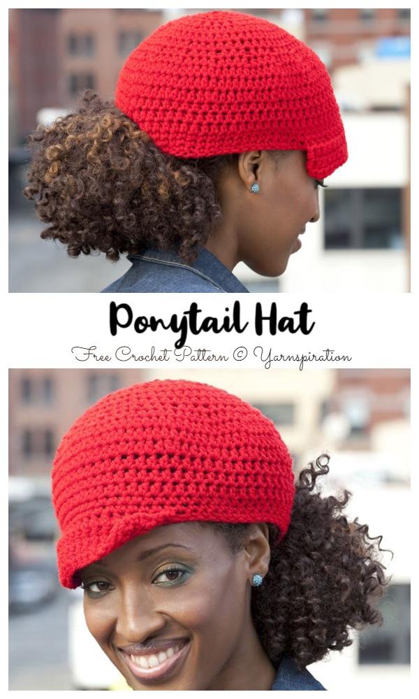 Ponytail Hat Free Crochet Patterns