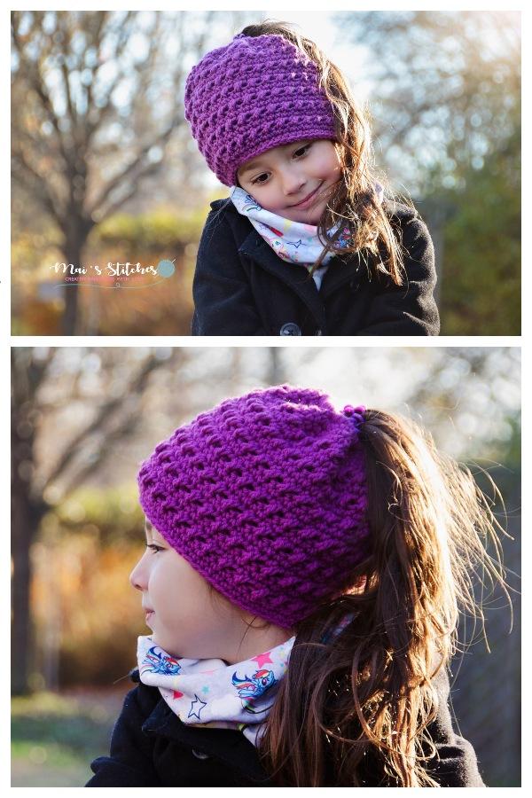 Criss Cross Ponytail Hat Crochet Patterns