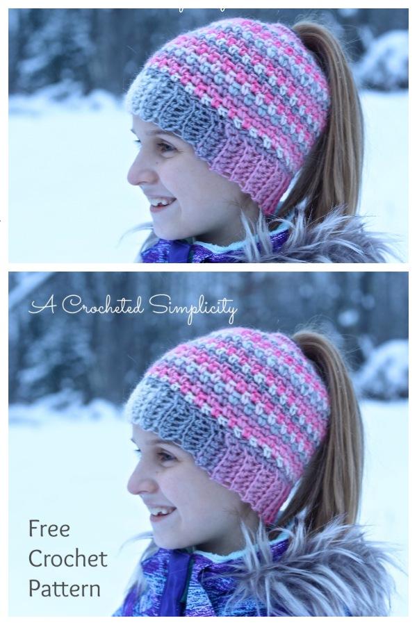 Linen Stitch Ponytail Hat Free Crochet Patterns