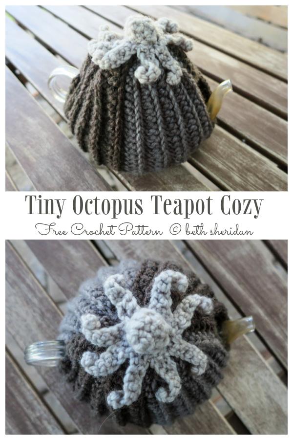 Tiny Octopus Teapot Cozy Free Crochet Patterns