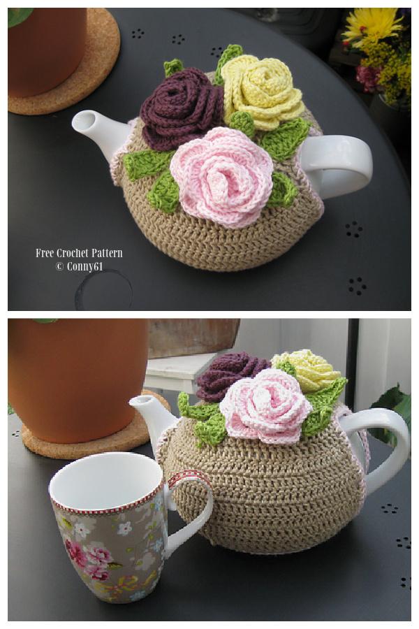 Rose Tea Cosies Free Crochet Patterns