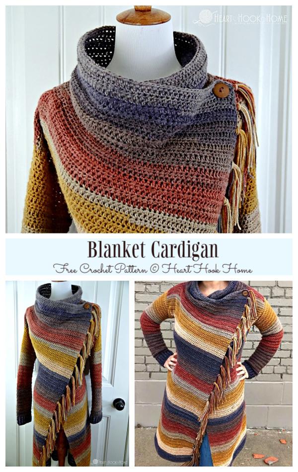 Adult Blanket Cardigan Free Crochet Patterns