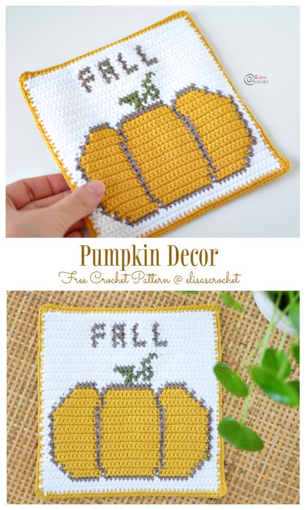 Fall Pumpkin Coaster Decor Free Crochet Patterns