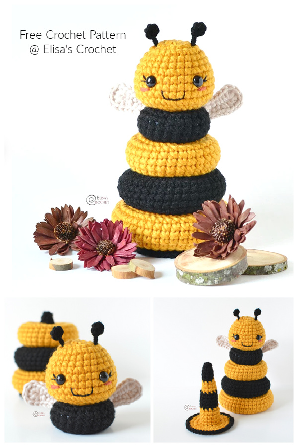 Fun Baby Bee Stacking Toy Free Crochet Patterns